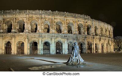 Roman circus and bullfighter - Niemes famous roman circus,...