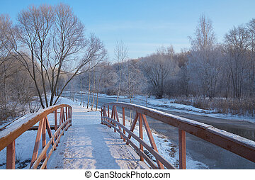 On wooden bridge - Winter view on the river and park from...