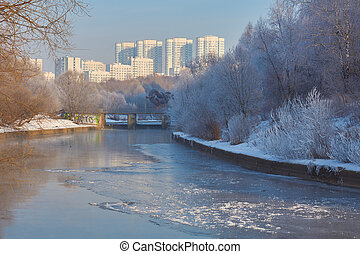 View on Yauza river in Moscow - Winter view on Yauza river...