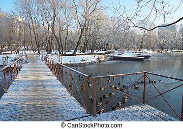 On pontoon bridge - Standing on pontoon bridge and looking...