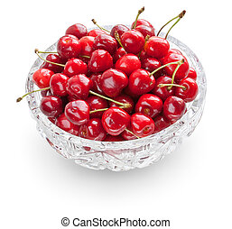 Cherries in crystal bowl