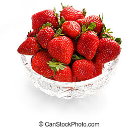 Strawberries in crystal bowl