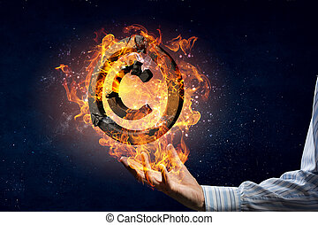 copyright, Simbolo, urente, in, fuoco,