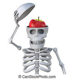 3d Skeleton reveals an apple in his head - 3d render of a...