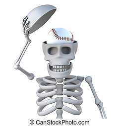 3d Skeleton has a baseball in his head - 3d render of a...