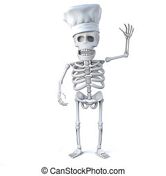 3d Skeleton chef waves hello - 3d render of a chef waving