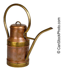 Old copper watering can. Isolated on white