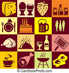 food bg - Seamless vector background with colorful symbols...