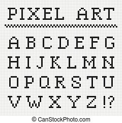 Pixel font. Vector set of pixel letters. English alphabet