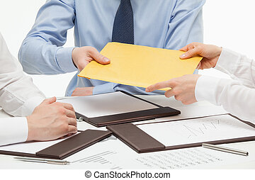 Business people passing an yellow envelope, white background