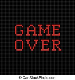Game over Vector pixel text message Pixel art