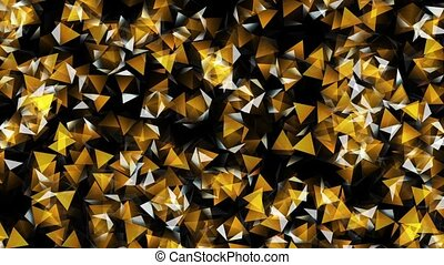 Abstract,rotating flashing pieces in yellow on dark