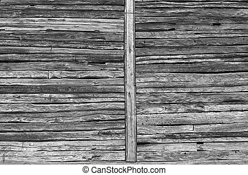 Wooden beams wall - Old house detail, wooden beams wall...