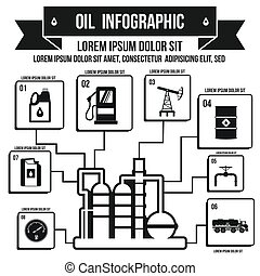 Oil Industry Infographic, simple style