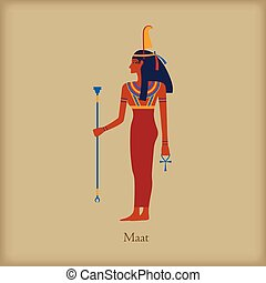 Maat, Goddess of justice icon, flat style - Maat, Goddess of...