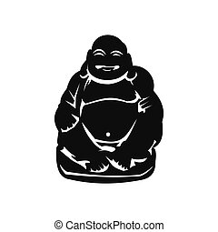 Hotei or Budai, Japanese Netsuke icon in simple style...