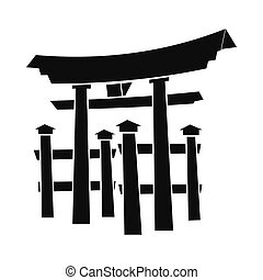 Floating Torii gate, Japan icon, simple style - Floating...