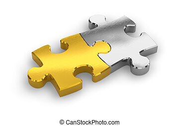 Two joined puzzle pieces