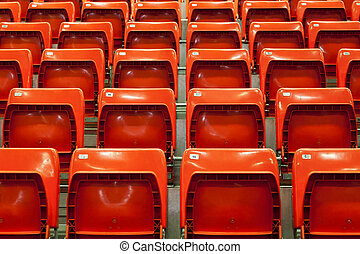 Close view of empty red seats