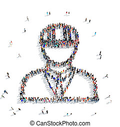 people shape civil engineer - A large group of people in the...
