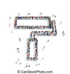 people shape roller icon - A large group of people in the...