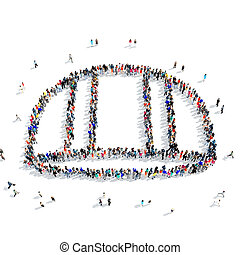 people construction helmet icon - A large group of people in...