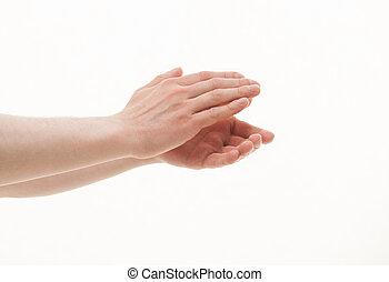 aplaudindo, macho, mãos