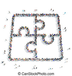 people shape puzzle icon - A large group of people in the...