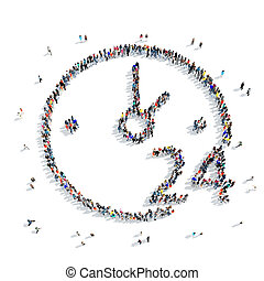 people shape clock icon - A large group of people in the...