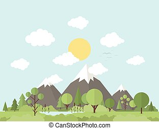 Mountain nature - Nature and mountains in a flat style...