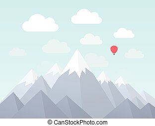 Mountain nature2 - Mountains in a flat style. Vector...