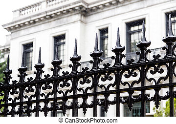 Spikes on Black Wrought Iron Fence - Black Wrought Iron...