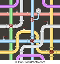 Seamless Abstract Industrial Pipeline Pattern - Seamless...