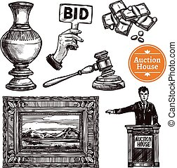 Hand Drawn Auction Set - Hand drawn sketch auction set with...
