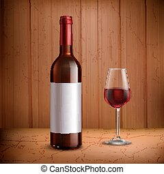 Wine Bottle Template With Glass Of Red Wine - Wine bottle...
