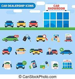 Car Dealership Flat Icons Composition Banner - Car...