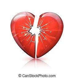 Red Glossy Broken Glass Heart Icon - Broken red glossy...