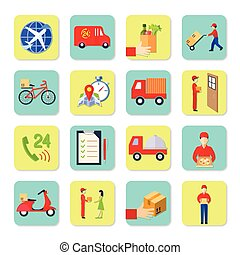Delivery Icon Flat Set