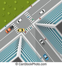 Top View On City Crossroad