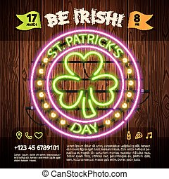 St Patricks Day Round Neon Sign on Wooden Background. Used...