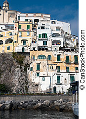 Amalfi coast - Houses in Amalfi coast in the Tyrrhenian Sea...