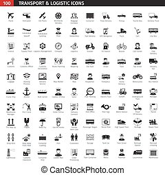 Transport And Logistic Black Icons Set