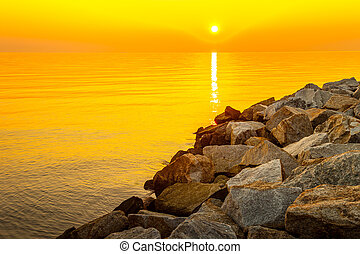 Sunrise over sea - Beautiful colorful sunrise over sea and...