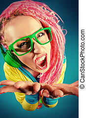 flashy style - Crazy expressive trendy DJ girl in bright...