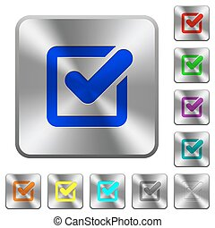 Steel checkbox buttons - Engraved checkbox icons on rounded...