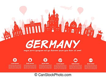 Germany, Berlin travel landmark Vector and Illustration
