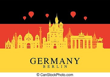 Germany flag, Berlin travel landmark. - Germany, Berlin...