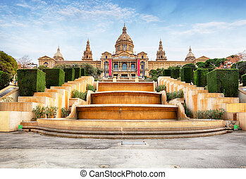 Placa de Espanya - National Museum in Barcelona, Spain