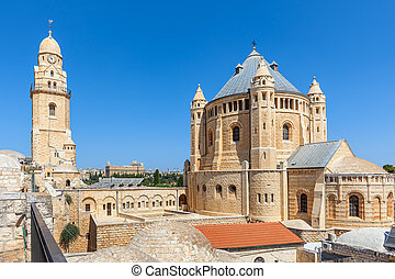 Church of Dormition in Jerusalem. - Exterior view of Church...