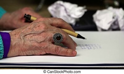 Old woman nervously keep hand on paper
